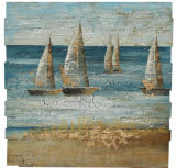 100% Handpainted Planked Wood Boat Art with Metallic Foil (Item#811702802
