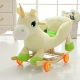 Child Rocking Horse Toy, Plush Animal Rocker Toy, Light Yellow Wooden Rocking