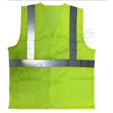 ANSI Class 2 Fluorescent Yellow Orange Red Wholesale Hi Vis Polyester Mesh Reflective Fabric Running Safety Vest with Pocket Zipper