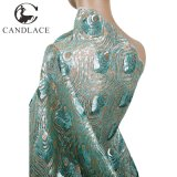 Wholesale Water Green Sequin Embroidery Fabric