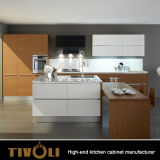 Customized Modern Natural Veneer and High Gloss White Kitchen Cabinet