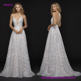 Scalloped Deep Sweetheart Neckline Wedding Dress with All-Over Beaded  T-Strap Back