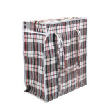 Cheap Recycle Check Design Strong Luggage Clothes Carry Jumbo Bags Zippers Custom Large PP Woven Bag