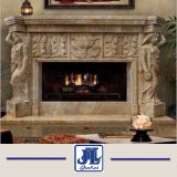 White Natural Stone Sculpture Marble/Granite Indoor Fireplace