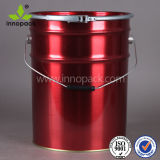 25L Custom Red Metal Buckets/Tin Pail with Ring Lock