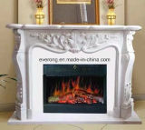 Natural White Stone Marble Fireplace Mantel Surround Sculpture Carving Fireplace