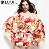 Lady Loose Fit Flower Print Flare Sleeve Jumpsuit Dress