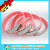 Silver Glaze Stainless Steel Silicone Wristband/ Bracelet with Metal Thb-057
