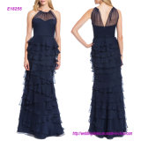 Spanghetti Strap Tiered Ruffle Shirt Evening Dress