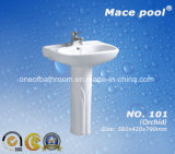 Ceramic Pedestal Basin with Orchid Pattern for Bathroom (101)