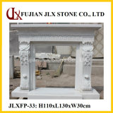 White Marble Polished Fine Carving Stone Fireplace Mantel