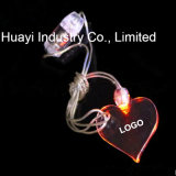 Custom Print Heart Shaped Pendant LED Glow Necklaces