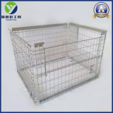 Warehouse Metal Folding Wire Mesh Container Cages with Wood Plastic Base