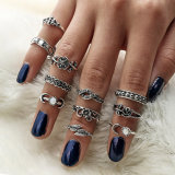 11PCS Boho Vintage Punk Antique Flower Carved MIDI Finger Rings