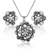 Costume Jewelry Dubai Gold Plated Crystal Necklace Set