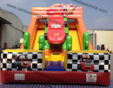 Wholesale Double Slips Cartoon Theme Car Race Inflatable Slide