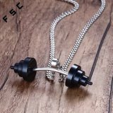Men′s Stainless Steel Gold Plated Barbell Weightlifting Pendant Dumbbell Necklace