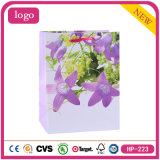 Purple Flowers OEM Logo Printed Cheap Clothing Coated Paper Bag
