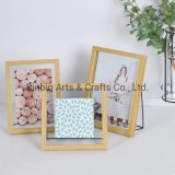 Natural Wood Color MDF Photo Frame with Metal Stand