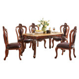 Classic Marble Dining Table with Leather Sofa Chair for Home Furniture