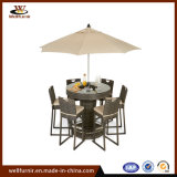 Rattan-6 Seat Round Bar Set with Luxury Inset Ice Bucket and Umbrella Hole