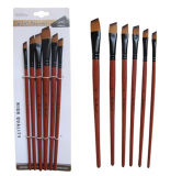 6PCS Watercolor Paint Brush with Flat Filbert Slant Head and Brown Wooden Handle