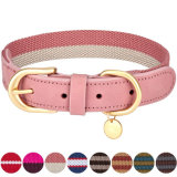 Fabric and Soft Genuine Leather Webbing Dog/Cat/ Pet Collar