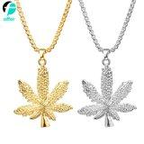 Promotion Gift Decoration Silver Tone Leaf Pendant Necklace