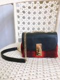 Mini Size Wool Fabric and Genuine Leather Casual Shoulder Bag