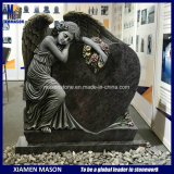 Bahama Blue Granite Antique Angel Holding Heart Statue Cemetery Tombstone
