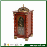 Classical Luxury Rectangle Wooden Table Clock with Metal Decoration