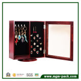 Wooden Rotating Table-Top Mirrored Jewelry Storage Cabinet