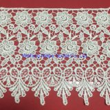 Fashion Embroidery Chemical Allover Lace Fabric, White Guipure Lace, Rendas Guipir Largo
