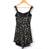 New Design Beach Wear Sleeveless Printed Short Jumpsuit Fashion