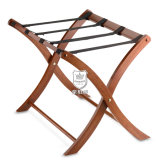 Classic Solid Wood Luggage Rack in Walnut Folds for Easy Storage