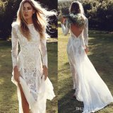 Long Sleeves Bridal Dress Country Beach Simple Lace Wedding Dresses W52215