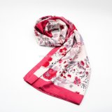 Full Color Floral Print Polyester Satin Woven Scarf for Ladies