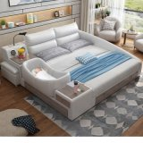 Modern Multifunction Miusc King Bed Leather Baby Bed with Storage