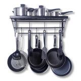 Kitchen Shelf, Kitchen Rack and Pan Rack, Cooker Shelf, with 10 S-Shape Hooks, Black