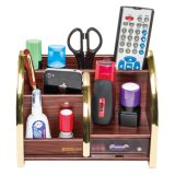 Multi-Functional Wooden Desk Organizer for Office Stationery Storage