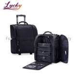 Makeup Trolley Rolling Beauty Bag Soft Sided Cosmetic Bag on Wheels Carry-on Bag with PVC Pouches