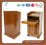 Lectern with Sliding Drawer & Adjustable Shelf in Cabinet