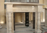 Indoor Stone Fireplace Decoration Beige Marble Fireplace