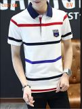 Wholesale Fashion Men's Stripe Embroidery Logo Polo Shirts