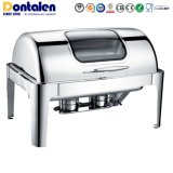Dontalen Roll Top Stainless Steel Buffet Food Warmer Catering Restaurant Equipment Appliance Heater Chafing Dish Kitchenware