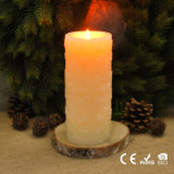 Battery Operated Chrisrmas Decor LED Pillar Candle, Carving Snowflake