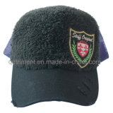 Fashion Plush Cloth Emblem Embroidery Mesh Trucker Cap (TMT0038-1)