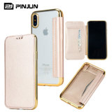 Plating Clear TPU Leather Flip Case for iPhone X 8/7/6 Plus
