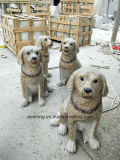 Natural Stone Granite Marble Dog Carving Animal Sculpture for Garden Statue