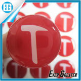 Custom Red Round T Word Dome Epoxy Crystal Sticker